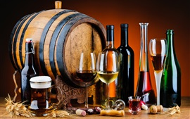 Preview wallpaper Wood barrel, wine, beer, bottles, glass cups, drinks