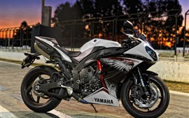 Yamaha motorcycle at night city street
