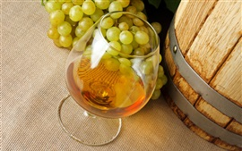 Preview wallpaper Alcohol drinks, wine, grapes, glass cup