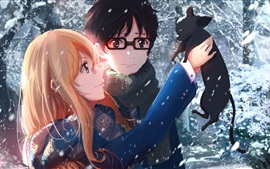 Anime girl and boy in winter, cat, snow