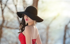 Preview wallpaper Asian girl look back, red dress, hat