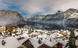 Austria, Hallstatt, Alps, mountains, lake, winter, snow, houses, roof