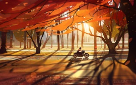 Preview wallpaper Autumn, trees, forest, motorcycle, leaves, road, sun rays, art drawing