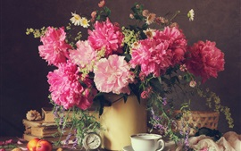 Preview wallpaper Beautiful peony flowers, pink petals, clock, vase