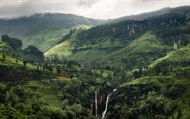 Красивый тропический пейзаж, зеленые горы, водопады, Шри-Ланка