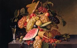 Preview wallpaper Berries, grapes, apples, watermelon, Paul Lacroix painting