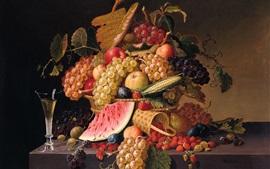 Bagas, uvas, maçãs, melancia, pintura de Paul Lacroix