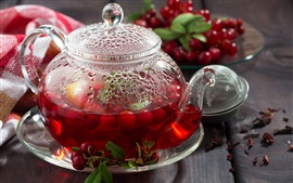 Berries tea, cranberries, teapot, drinks