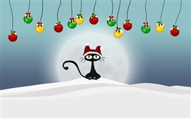 Preview wallpaper Black cat, Christmas balls, snow, winter, art picture
