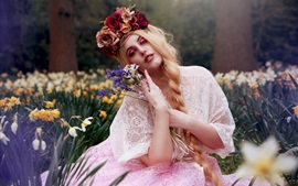 Preview wallpaper Blonde girl, flowers, makeup, art photography