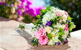 Bouquet, flowers, pink and white roses, gift