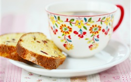 Preview wallpaper Breakfast, cake, cup, tea