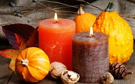 Preview wallpaper Candles, nuts, pumpkin, still life