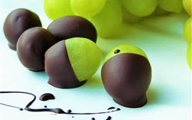 壁紙のプレビュー チョコレートで覆われた緑のぶどう、デザート、フルーツ