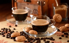 Coffee beans, cookies, cups