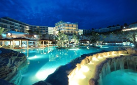 Croatia, resort, hotel, lights, pool, night