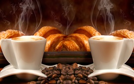 Cups, coffee beans, bread, steam, aroma