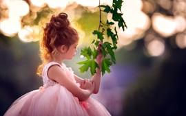 壁紙のプレビュー カーリーヘアの少女、緑の楓の葉、日差し