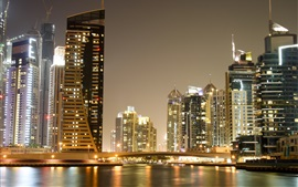 Preview wallpaper Dubai, city night views, skyscrapers, bridge, lights