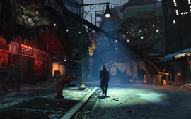 Fallout 4, calle, ciudad, noche
