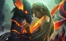 Fantasy girl and dragon, art picture