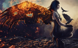 Fantasy girl, fallen angel, wings, fire, raven