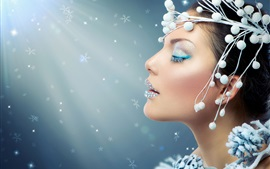 Preview wallpaper Fashion girl, makeup, close eyes, decoration, light