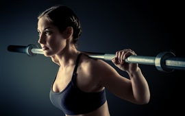 Preview wallpaper Fitness girl, black sportswear, training, weight lifting