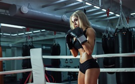 Preview wallpaper Fitness girl, blonde, boxing training