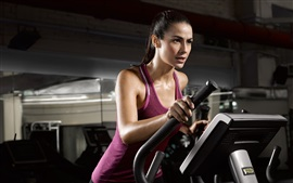 Preview wallpaper Fitness girl, purple dress, sweat