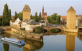 Preview wallpaper France, Strasbourg, bridge, river, houses