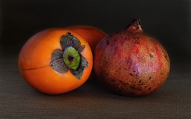 Fruit macro photography, persimmon, pomegranate