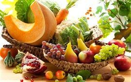 Preview wallpaper Fruits and vegetables, garnets, pears, apples, grapes, carrots, pumpkin, cabbage