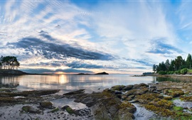 Galiano Island, sunset, clouds, trees, sea, coast, British