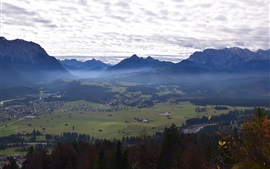 Preview wallpaper Germany, Bavaria, Zugspitze, mountains, trees, town, clouds, morning