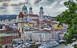 Germany, Bayern, city, houses, tower, river, ship, clouds