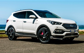 Preview wallpaper Hyundai Santa Fe white SUV side view