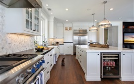 Interior design, kitchen room, white style