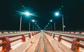 Preview wallpaper Irkutsk, Russia, city, night, bridge, road, lights