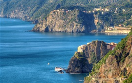 Preview wallpaper Italy, Cinque Terre, Ligurian coast, mountains, sea, rocks