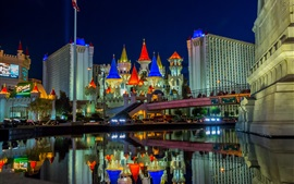 Preview wallpaper Las Vegas, Nevada, USA, city, night, castle, buildings, water, lights