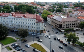 Preview wallpaper Lithuania, Vilnius, city, street, houses, traffic, top view