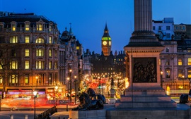 London, England, night city, lights, Big Ben, Trafalgar Square, street, buildings
