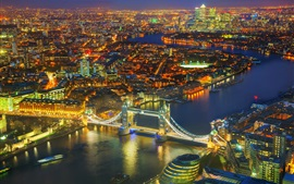 London night view, Tower Bridge, Thames River, city, lights, UK