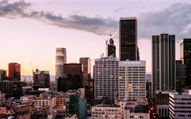 Los Angeles, EUA, vista para a cidade, arranha-céus, nuvens, crepúsculo