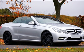 Mercedes-Benz E Class silvery convertible car side view