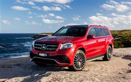 Preview wallpaper Mercedes-Benz GLS-Class AMG X166 red SUV car