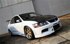 Mitsubishi Lancer Evolution car, white and black