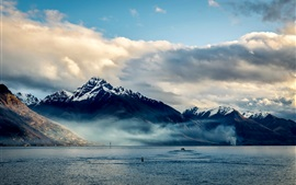 Preview wallpaper New Zealand, Queenstown, mountains, sea, coast, clouds