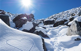 Preview wallpaper New Zealand, winter, mountains, thick snow, sun rays, love heart
